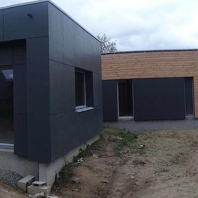 Maison ossature bois toit plat - Hénanbihen